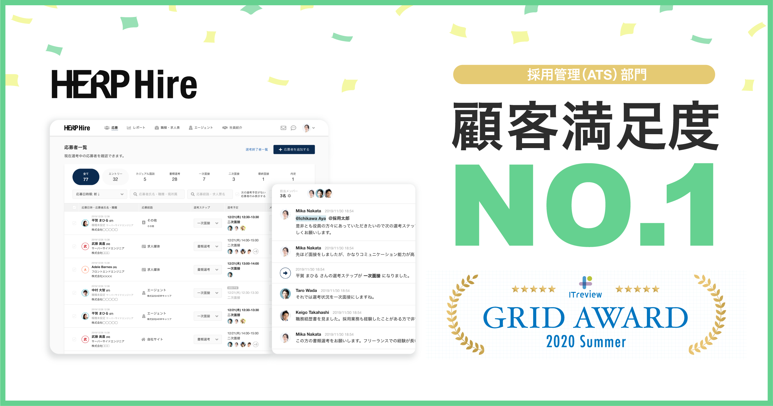【HERP Hire】三季連続で「ITreview Grid Award」の採用管理(ATS)部門で顧客満足度No.1を獲得!